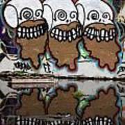 Three Skulls Graffiti Art Print