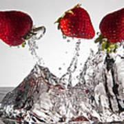 Three Strawberries Freshsplash Art Print