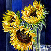 Three Sunny Flowers Art Print