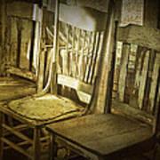 Three Vintage Wooden Chairs Art Print
