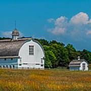 Three White Barns Art Print