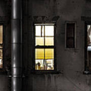 Three Windows And Pipe - The Story Behind The Windows Art Print by Gary Heller