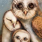 Three Wise Owls Art Print by Karin Taylor