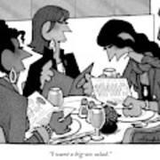 Three Women Are Sitting At A Table Reading Menus Art Print