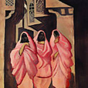 Three Women On The Street Of Baghdad Art Print