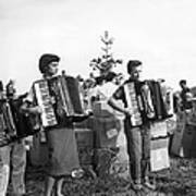 Three Young Accordion Players Art Print