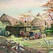 Threshing In Kent Print by Dudley Pout