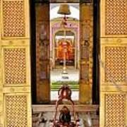 Through The Temple Doors India Art Print