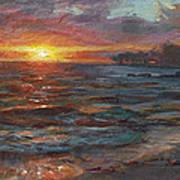 Through The Vog - Hawaii Beach Sunset Art Print