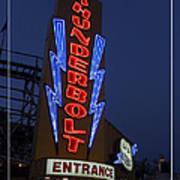 Thunderbolt Rollercoaster Neon Sign Art Print