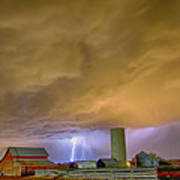 Thunderstorm Hunkering Down On The Farm Art Print