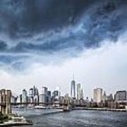 Thunderstorm Over Manhattan Downtown Art Print