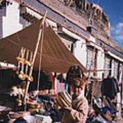 Tibet Market At Gyantse By Jrr Art Print