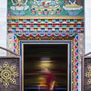 Tibetan Monk And The Prayer Wheel Art Print by Tim Gainey