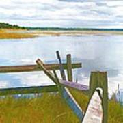 Tide And Fence Oil Art Print