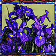 Tiffany Style Blue Iris Art Print