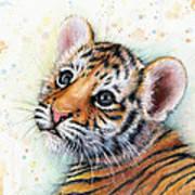 Tiger Cub Watercolor Art Art Print