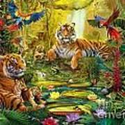 Tiger Family In The Jungle Art Print by Jan Patrik Krasny