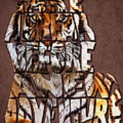 Tiger Majesty Typography Art Art Print