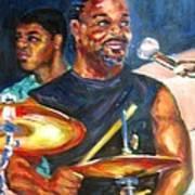 Tiger On Drums Art Print