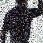 Tiger Woods Fist Pump Mosaic Art Print