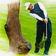 Tiger Woods Hits A Shot From The Rough Art Print