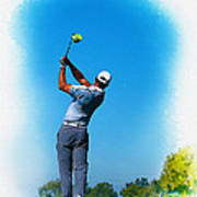 Tiger Woods Plays His Tee Shot On The 15th Hole Art Print