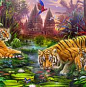 Tigers At The Ancient Stream Print by Jan Patrik Krasny