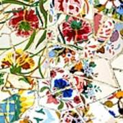 Tile Work In The Antoni Gaudi Park Barcelona Art Print