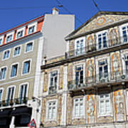 Tiled Building In Chiado District Of Lisbon Art Print