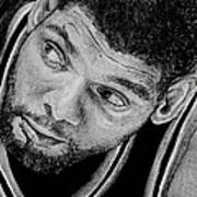 Tim Duncan Drawing The Champ Is Here Art Print