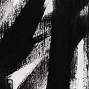 Timber- Vertical Abstract Black And White Painting Art Print