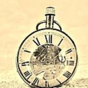 Time In The Sand In Sepia Art Print
