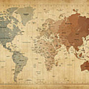 Time Zones Map Of The World Art Print by Michael Tompsett