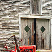 Red Tractor And Old Barn Ossipee New Hampshire Art Print