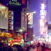 Times Square At Night - Columns Of Light Art Print