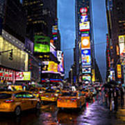 Times Square In The Rain Art Print by Garry Gay