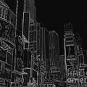 Times Square Nyc White On Black Art Print by Meandering Photography