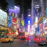 Times Square Street Level Art Print by Bud Anderson