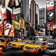 Times Square Taxis Art Print