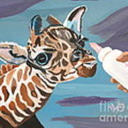 Tiny Baby Giraffe With Bottle Art Print