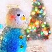 Tiny Snowman Christmas Card Art Print
