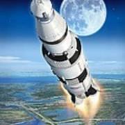 To The Moon Apollo 11 Art Print by Stu Shepherd