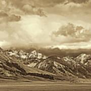 Tobacco Root Mountain Range Montana Sepia Art Print by Jennie Marie Schell