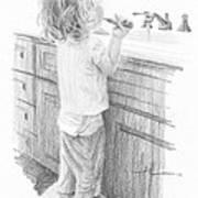 Toddler Brushing Teeth Pencil Portrait  Art Print