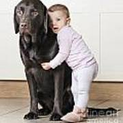 Toddler With Dog Art Print by Justin Paget