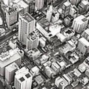 Tokyo City Black And White Art Print