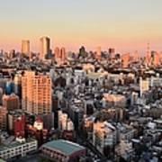 Tokyo Cityscape At Sunset Art Print