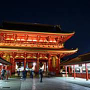 Tokyo, The Sensoji Temple At Night Art Print