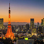 Tokyo Tower Skyscrapers Neon Futuristic Art Print